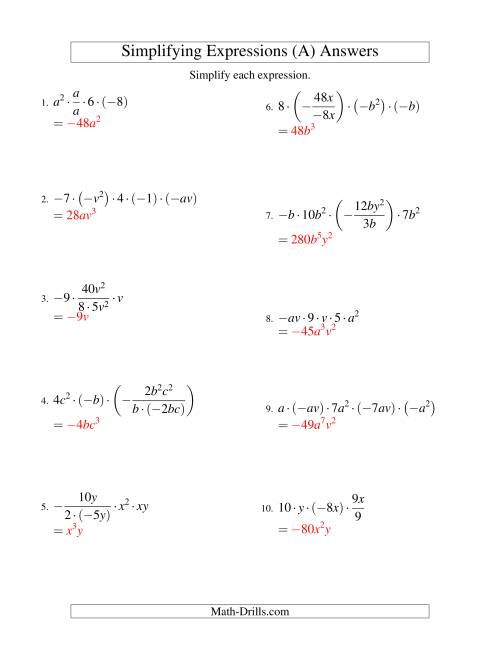 The Simplifying Algebraic Expressions with Two Variables and Five Terms (Multiplication and Division) (A) Math Worksheet Page 2