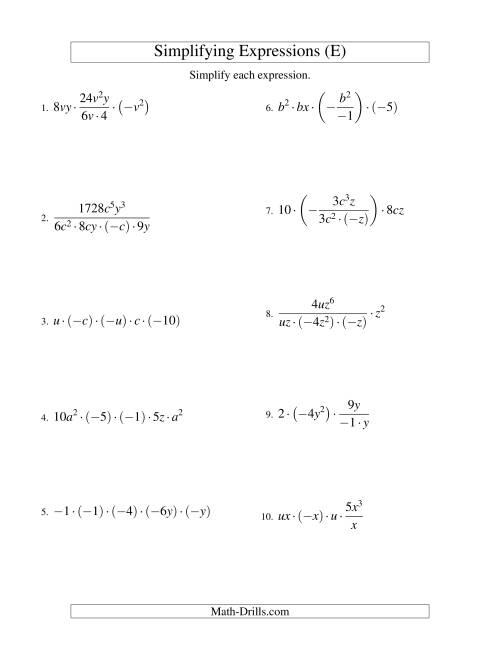 The Simplifying Algebraic Expressions with Two Variables and Five Terms (Multiplication and Division) (E) Math Worksheet