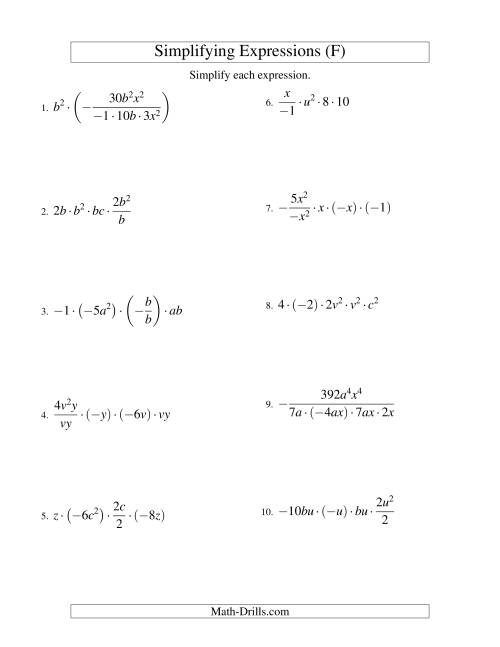 The Simplifying Algebraic Expressions with Two Variables and Five Terms (Multiplication and Division) (F) Math Worksheet