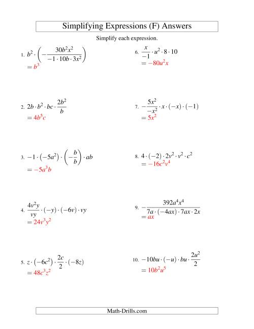 The Simplifying Algebraic Expressions with Two Variables and Five Terms (Multiplication and Division) (F) Math Worksheet Page 2