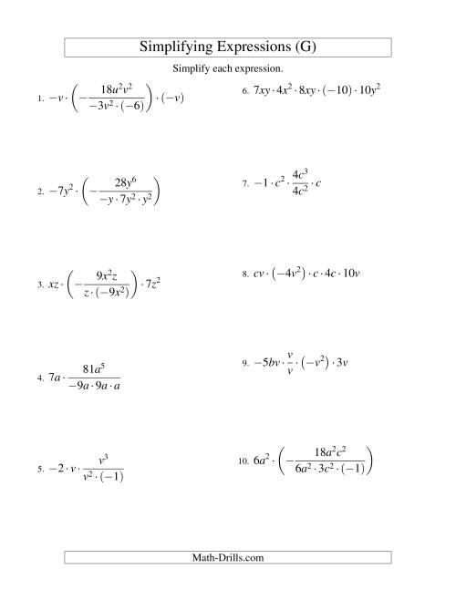 The Simplifying Algebraic Expressions with Two Variables and Five Terms (Multiplication and Division) (G) Math Worksheet