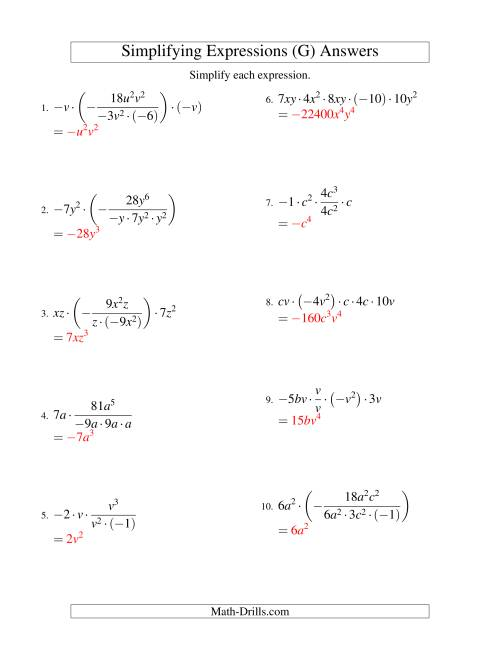 The Simplifying Algebraic Expressions with Two Variables and Five Terms (Multiplication and Division) (G) Math Worksheet Page 2