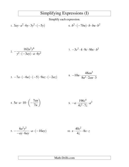 The Simplifying Algebraic Expressions with Two Variables and Five Terms (Multiplication and Division) (I) Math Worksheet