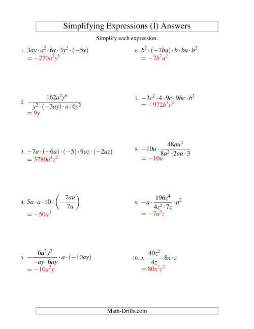 The Simplifying Algebraic Expressions with Two Variables and Five Terms (Multiplication and Division) (I) Math Worksheet Page 2