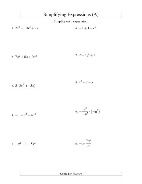 The Simplifying Algebraic Expressions with One Variable and Three Terms (All Operations) (A) Math Worksheet