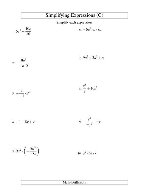 The Simplifying Algebraic Expressions with One Variable and Three Terms (All Operations) (G) Math Worksheet