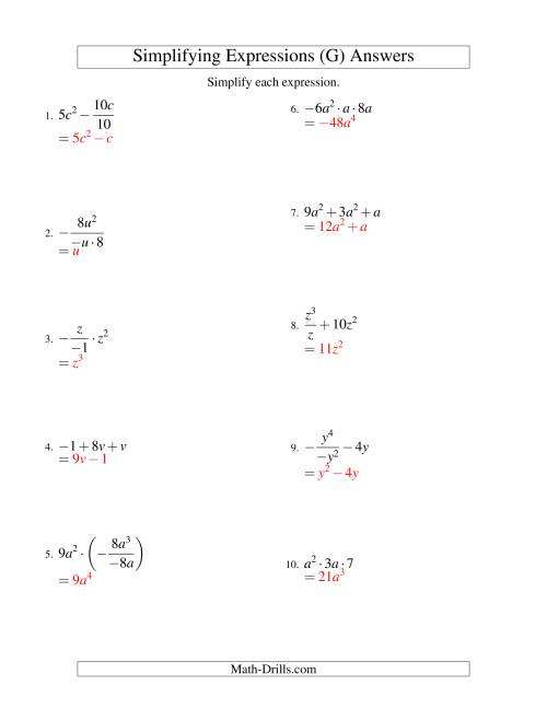 The Simplifying Algebraic Expressions with One Variable and Three Terms (All Operations) (G) Math Worksheet Page 2