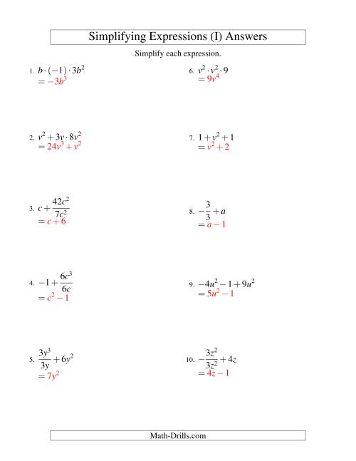 what does simplify each expression in algebra mean