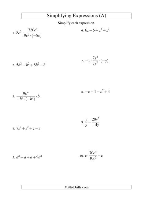 The Simplifying Algebraic Expressions with One Variable and Four Terms (All Operations) (A) Math Worksheet