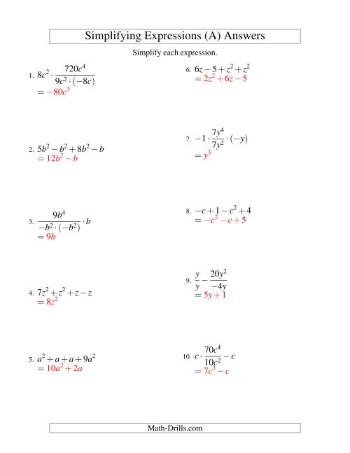 The Simplifying Algebraic Expressions with One Variable and Four Terms (All Operations) (A) Math Worksheet Page 2