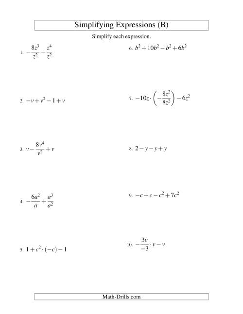 The Simplifying Algebraic Expressions with One Variable and Four Terms (All Operations) (B) Math Worksheet