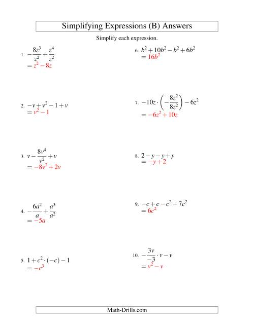 The Simplifying Algebraic Expressions with One Variable and Four Terms (All Operations) (B) Math Worksheet Page 2
