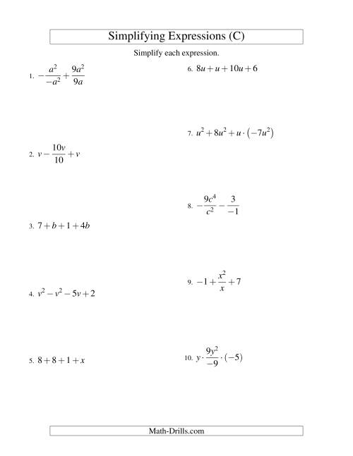 The Simplifying Algebraic Expressions with One Variable and Four Terms (All Operations) (C) Math Worksheet