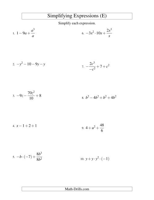 The Simplifying Algebraic Expressions with One Variable and Four Terms (All Operations) (E) Math Worksheet