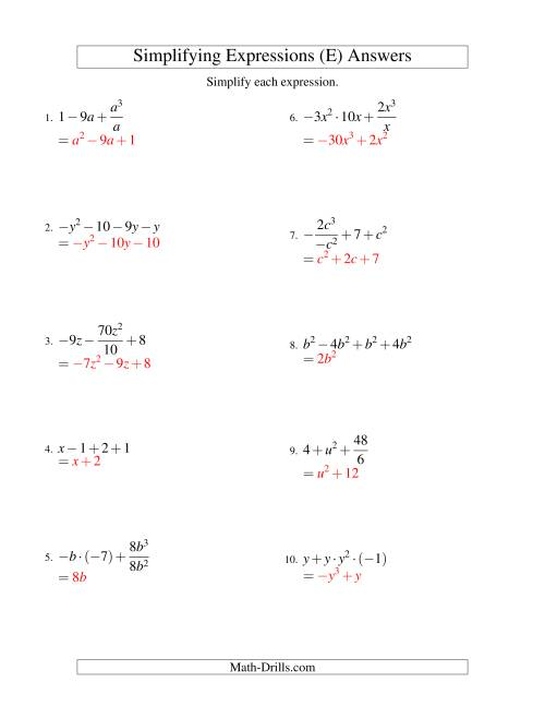The Simplifying Algebraic Expressions with One Variable and Four Terms (All Operations) (E) Math Worksheet Page 2