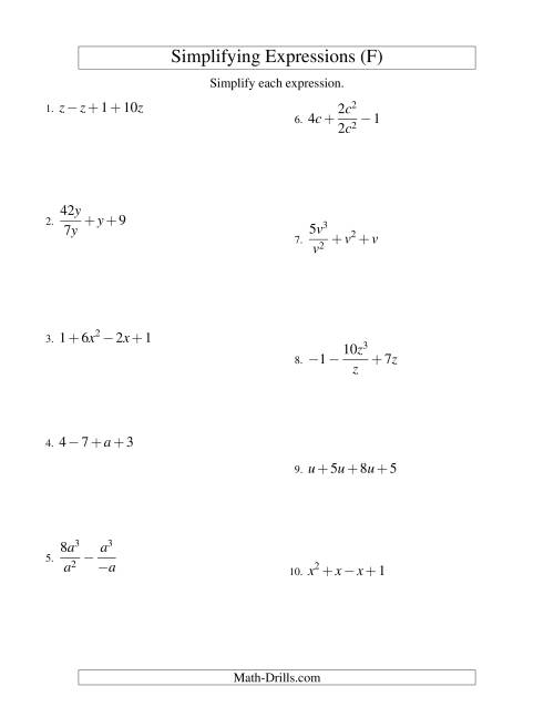 The Simplifying Algebraic Expressions with One Variable and Four Terms (All Operations) (F) Math Worksheet