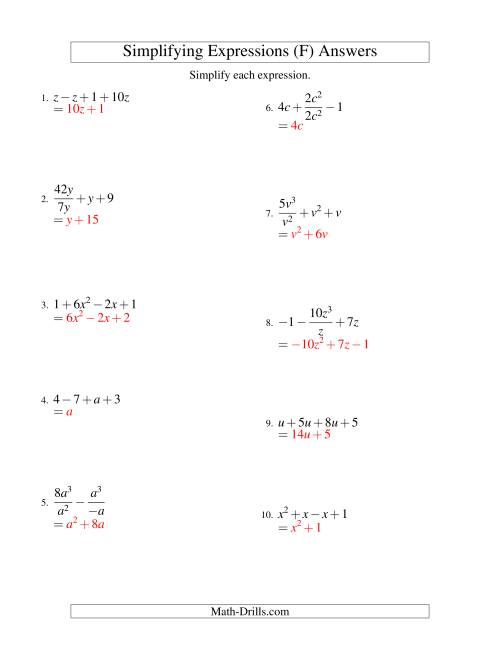 The Simplifying Algebraic Expressions with One Variable and Four Terms (All Operations) (F) Math Worksheet Page 2