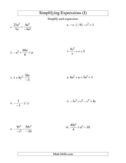 The Simplifying Algebraic Expressions with One Variable and Four Terms (All Operations) (J) Math Worksheet