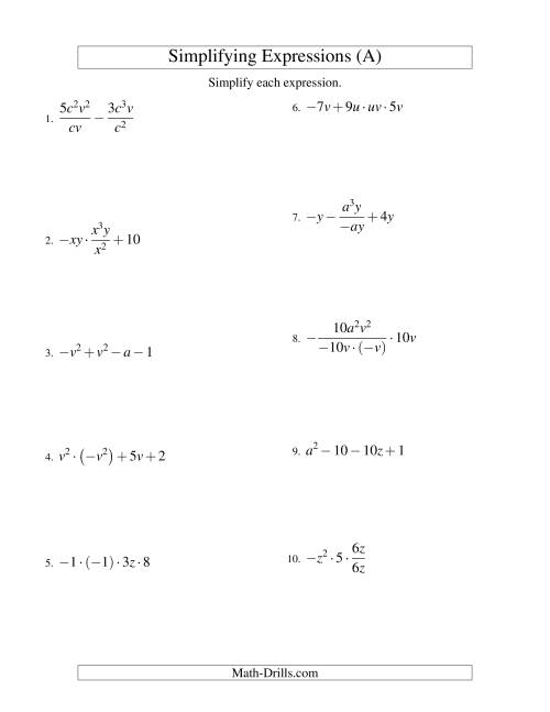 Worksheets Simplifying Algebraic Expressions Worksheets Answers simplifying algebraic expressions with two variables and four terms all operations a