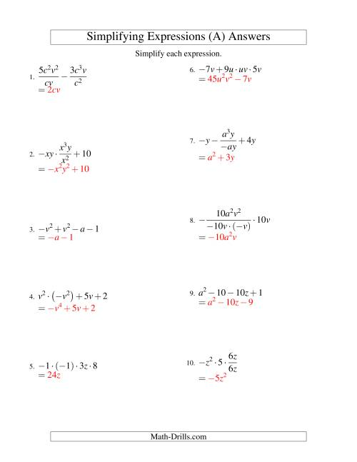 The Simplifying Algebraic Expressions with Two Variables and Four Terms (All Operations) (A) Math Worksheet Page 2