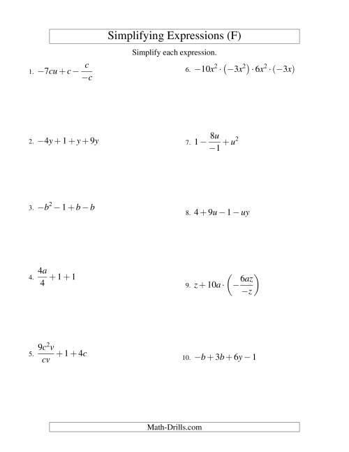 The Simplifying Algebraic Expressions with Two Variables and Four Terms (All Operations) (F) Math Worksheet