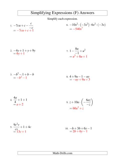 The Simplifying Algebraic Expressions with Two Variables and Four Terms (All Operations) (F) Math Worksheet Page 2