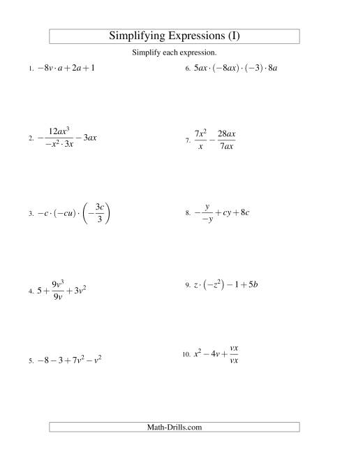 The Simplifying Algebraic Expressions with Two Variables and Four Terms (All Operations) (I) Math Worksheet