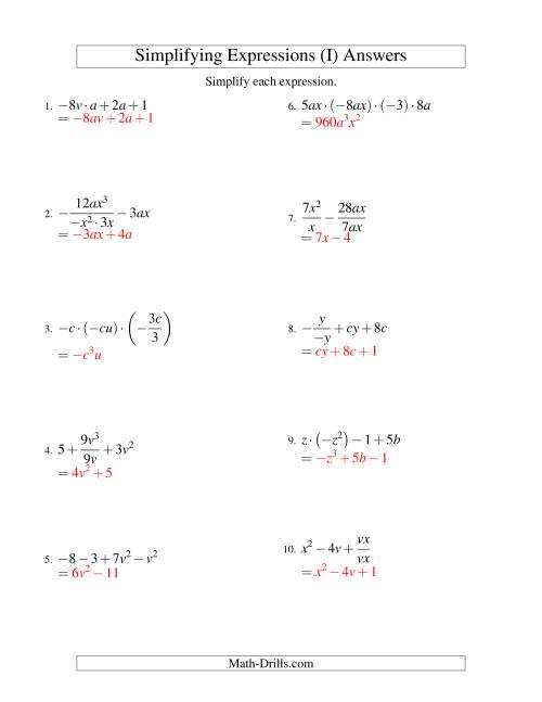The Simplifying Algebraic Expressions with Two Variables and Four Terms (All Operations) (I) Math Worksheet Page 2