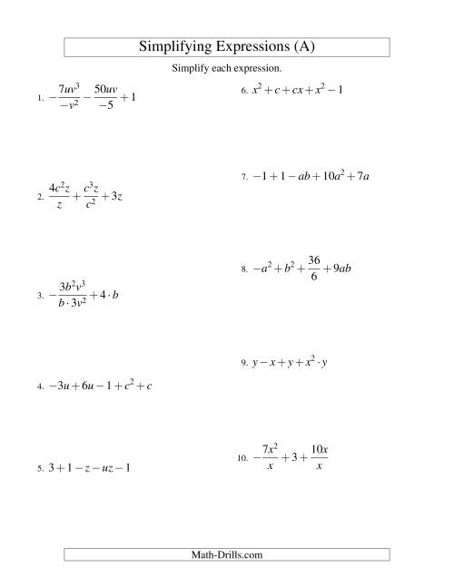 The Simplifying Algebraic Expressions with Two Variables and Five Terms (All Operations) (A) Math Worksheet