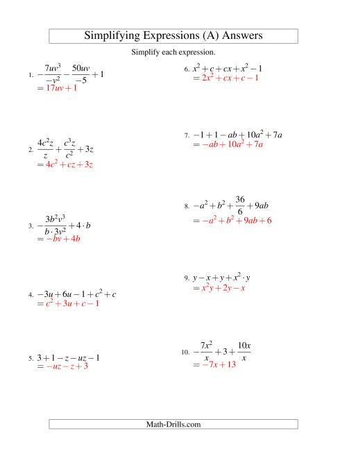 The Simplifying Algebraic Expressions with Two Variables and Five Terms (All Operations) (A) Math Worksheet Page 2