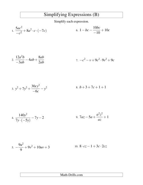 The Simplifying Algebraic Expressions with Two Variables and Five Terms (All Operations) (B) Math Worksheet