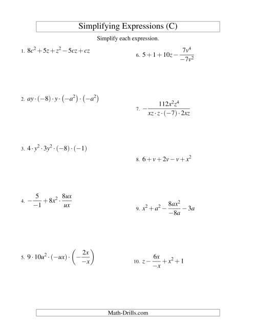 The Simplifying Algebraic Expressions with Two Variables and Five Terms (All Operations) (C) Math Worksheet