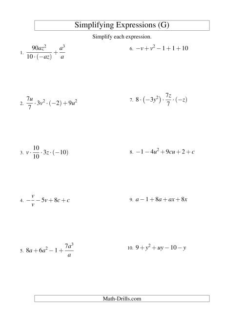 The Simplifying Algebraic Expressions with Two Variables and Five Terms (All Operations) (G) Math Worksheet