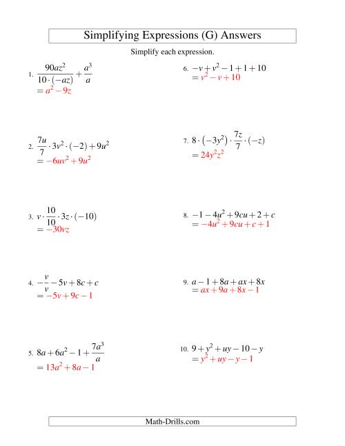 The Simplifying Algebraic Expressions with Two Variables and Five Terms (All Operations) (G) Math Worksheet Page 2