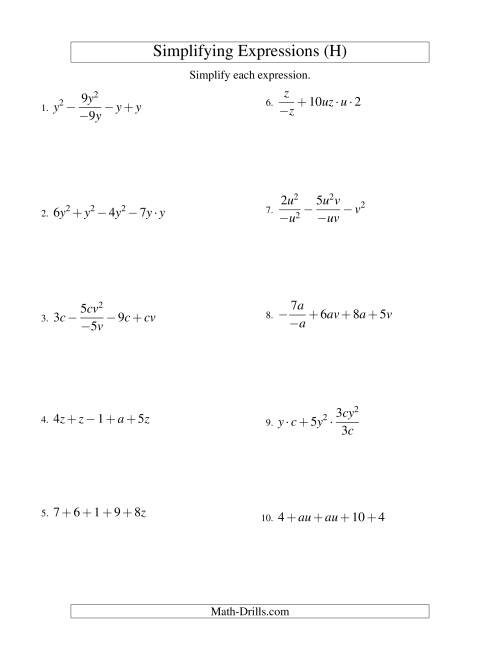 Simplifying Algebraic Expressions With Two Variables And