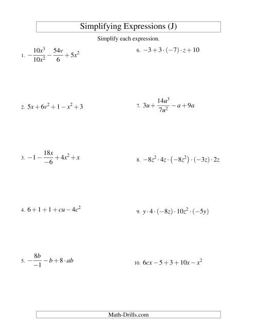 The Simplifying Algebraic Expressions with Two Variables and Five Terms (All Operations) (J) Math Worksheet