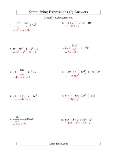 The Simplifying Algebraic Expressions with Two Variables and Five Terms (All Operations) (J) Math Worksheet Page 2