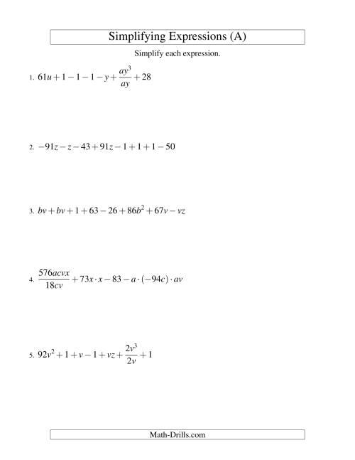 Simplifying Algebraic Expressions Challenge A Algebra