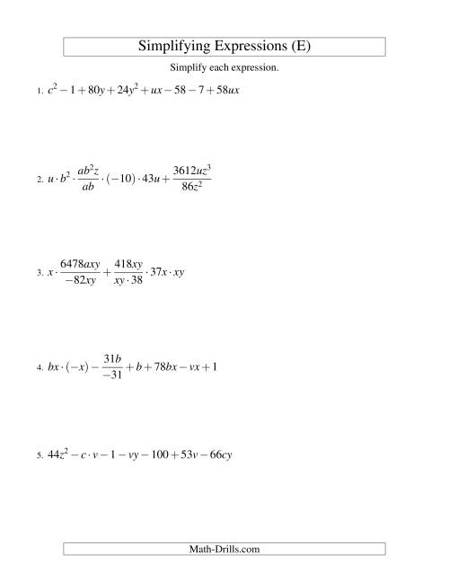 simplifying algebraic expressions  challenge   e