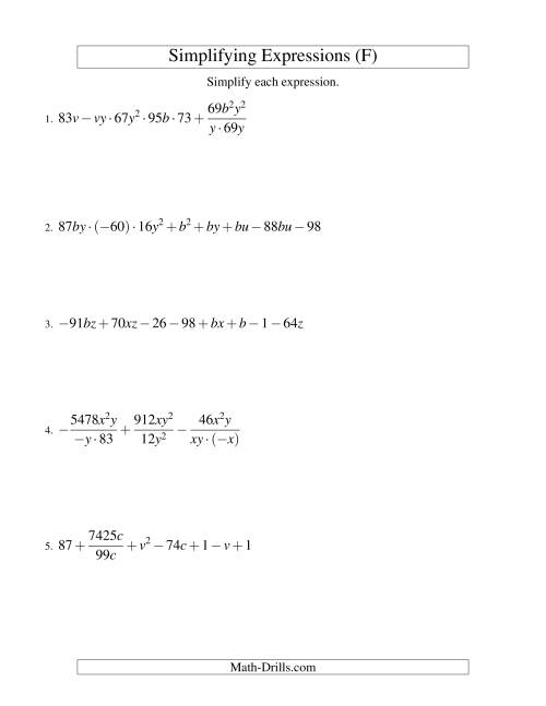 The Simplifying Algebraic Expressions (Challenge) (F) Math Worksheet
