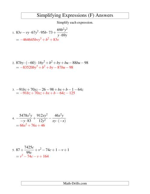The Simplifying Algebraic Expressions (Challenge) (F) Math Worksheet Page 2