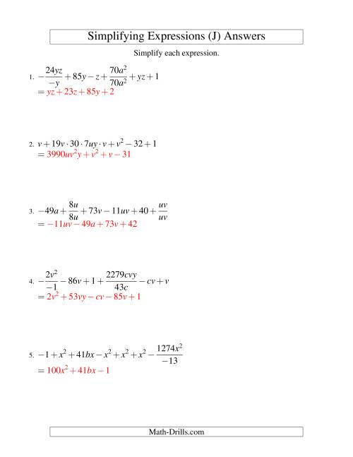 The Simplifying Algebraic Expressions (Challenge) (J) Math Worksheet Page 2