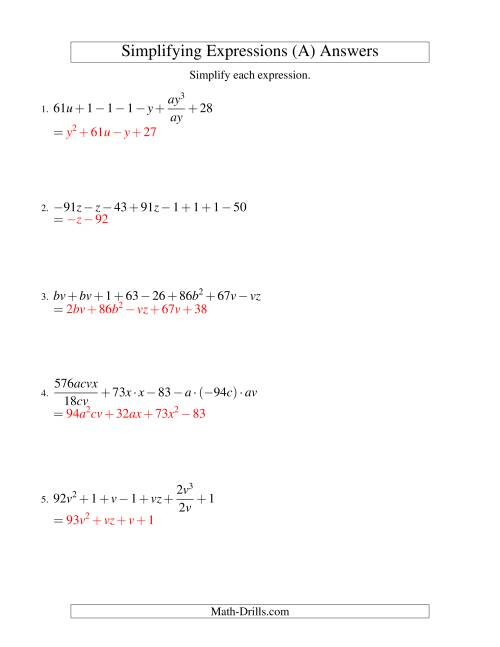 Simplifying Algebraic Expressions Challenge All
