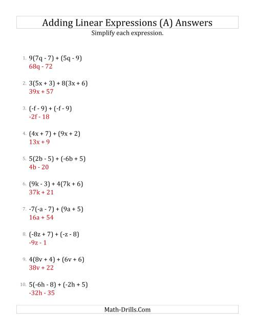 The Adding and Simplifying Linear Expressions with Some Multipliers (A) Math Worksheet Page 2