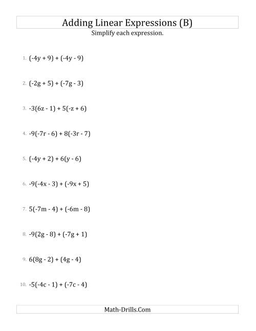 The Adding and Simplifying Linear Expressions with Some Multipliers (B) Math Worksheet
