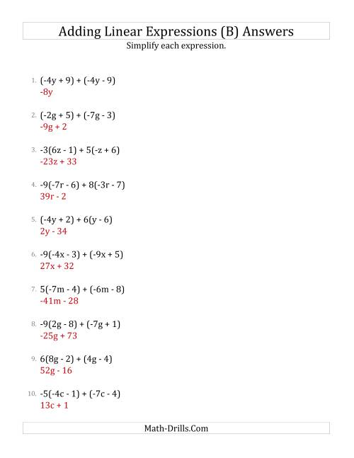The Adding and Simplifying Linear Expressions with Some Multipliers (B) Math Worksheet Page 2
