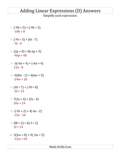 The Adding and Simplifying Linear Expressions with Some Multipliers (D) Math Worksheet Page 2