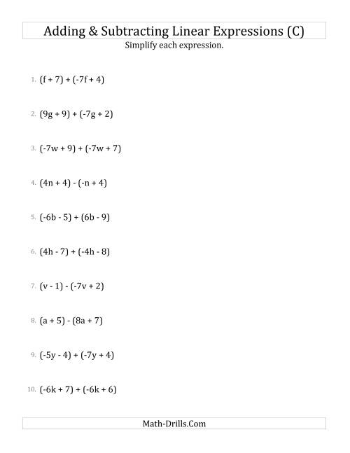 The Adding and Subtracting and Simplifying Linear Expressions (C) Math Worksheet