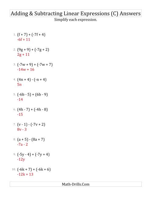 The Adding and Subtracting and Simplifying Linear Expressions (C) Math Worksheet Page 2