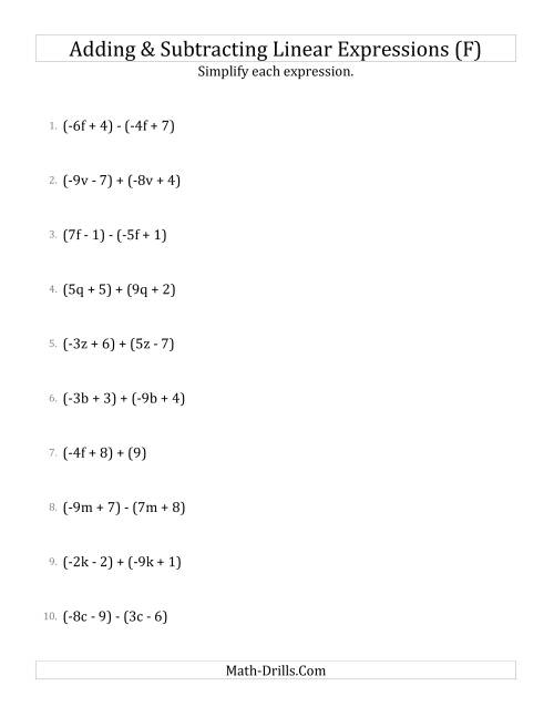 The Adding and Subtracting and Simplifying Linear Expressions (F) Math Worksheet